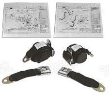 74-77 Corvette Black Lap & Shoulder Seat Belts NEW Single Retractor 43182