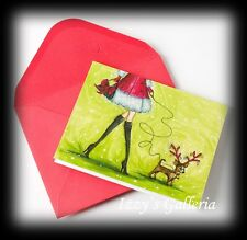 ONE Papyrus Bella Pilar Christmas Santa Girl With Reindeer Chihuahua Dog Card