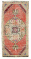 2x4 Red Vintage Oriental Hand Knotted Geometric Wool Turkish Area Rug