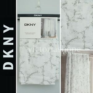 DKNY 2 Panels Window Curtain Drapes Light Filter ~ Promenade ~ White/Gray ~50x96