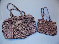 2 Vera Bradley Handbag Matching Duffel Bag Burgundy Red Beige Set LOT Medallion