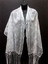 Wedding Sequin Sheer Wrap Glitter Shiny Evening Scarf Shawl Petal Leaf White