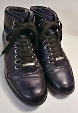 DIOR Homme Black/Navy Leather Hi-Top Fashion Sneakers Men's Size US 8/ EUR 41