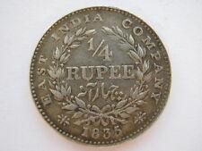 East india company 1835 1/4 roupie vf KM#448.4 incus f