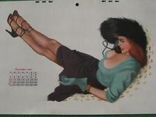 December 1950 Pinup Girl Al Moore Esquire Calendar Art Redhead Fur Hat Telephone