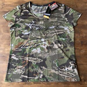 Under Armour Threadborne HeatGear Early Season Hunting Camo Shirt Women's Sz XL
