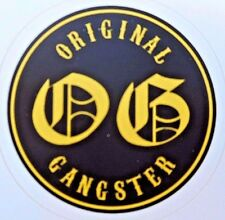 "O.G. Original Gangster Sticker Old English Lettering Black and Yellow 3"" x 3"""