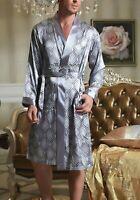 FREE SHIP Delivery < 5 DAYS USA sizes Mens Satin Silk Pajamas Kimono Robe Gown