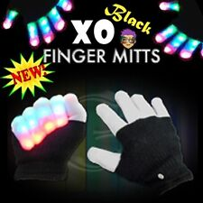BLACK LED XO Magic Mitts MultiColor Flashing Finger Mitts Rave Party FUN! - NEW!