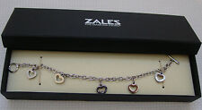 STERLING SILVER HEART DIAMOND TOGGLE BRACELET .925 NEW FREE SHIP @ CARGO COVE