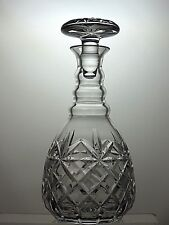 """CUT GLASS LEAD CRYSTAL ROUND WINE SHERRY DECANTER 3 RING - 10 1/4"""" TALL"""