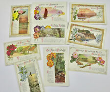 9 Edwardian Vintage Postcards Brother Sister Birthday Greeting Cards Flowers