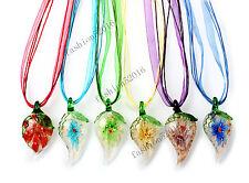 FREE Wholesale Lot 6pcs Leaf Flower Lampwork Glass Pendants Silk Necklace