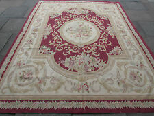 Old Hand Made French Design Original Wool 10x8 Raspberry Red Aubusson 312X240cm