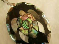 Mother of Pearl Large Oval Pendant Turtle Abstract Design 5cm long
