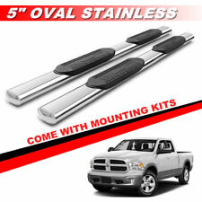 "5"" Stainless Oval Nerf Bars Running Boards For 2009-2018 Dodge Ram 1500 Quad Cab"