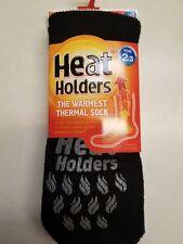 Heat Holders  Slippers Anti Slip Grippers Ladies 5-9 Mens 4-8 BLACK/ GRAY