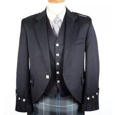 Scottish Men Hand Made Black Argyle jacket and vest for wedding&parties Custom