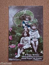 R&L Postcard: Tinted Portrait of Edwardian Children, Chinese Parasol/Sailor Boy