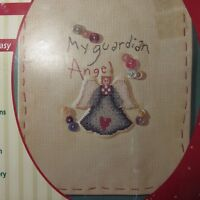 Vintage Plaid Stitched Impression Guardian Angel Counted Cross Stitch Kit 21871