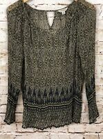 Lucky Brand shirt blouse womens medium brown ikat tunic sheer long slv vneck G5