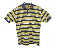 Vintage Tommy Hilfiger Yellow White Navy Blue Polo Shirt Stripes Medium