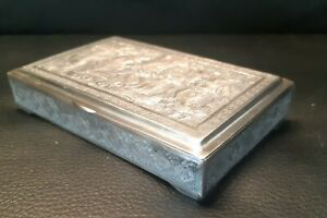 EXCEPTIONAL PERSIAN SILVER CHASED JEWEL BOX- SIGNED