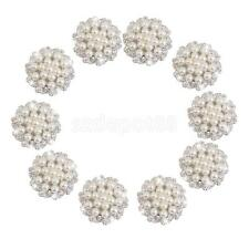 10Pcs Crystal Rhinestone Flower Pearl Buttons Flatback Embellishment Craft