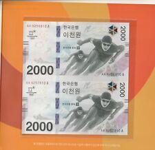 Korea 2018 Olympic Commemorative 2 in1 Uncut Banknote 2000 Won Folder UNC