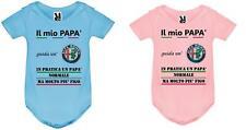 """body tutina bimbi rosa azzurro neonato Stampa """"il mio papà guida Alfa Romeo """""""