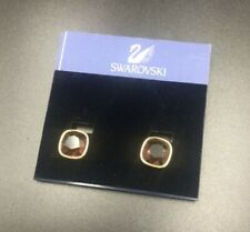 New Swarovski Crystal Clip Earrings, Gold Toned Square Shape, Red Purple Color