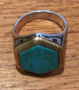Natural Turquoise Gemstone with 925 Sterling Silver Ring for Men Size Y 16.4 G