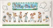 PLAY BALL BO-BUNNY PRESS 6 X 12 IN. SHEET STICKERS BASEBALL SOFTBALL FIELD BAT