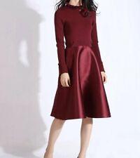 AUTH Ted Baker Frill neck full skirt dress Maroon, 0-5