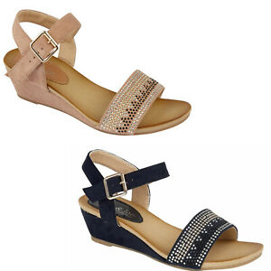 Ladies Low Wedge Diamante Ankle Strap Suede Dress Party Evening Sandals Size New