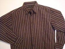Jack XL Brown Tan Stripe LONG SLEEVE SHIRT Extra Large 17.5 x 36