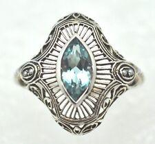 ART Deco Ring Blu Topaz Semi Perle 925 Sterling Argento Taglia 52
