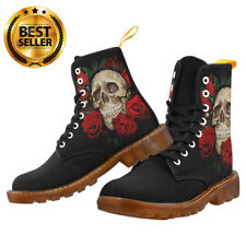 New SKULL and ROSES Canvas Boots 8 Hole Lace Up Women Fashion Goth Punk Design