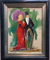 Pavlov Boris 1928-2005 Elegantes Paar - er mit Zylinder TOP glamouröse Ölskizze