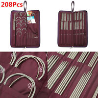 104pcs Circular Straight Knitting Needle Double Crochet Hook Weave Tool DIY Set