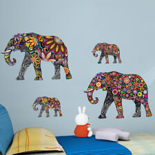 Colorful Elephant Flower Wall Sticker 3D Decal Wallpaper Mural Decor Living Room