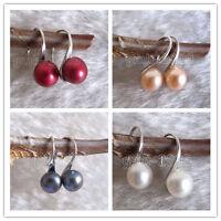 Genuine Natural 7-8mm Akoya Freshwater Pearl Silver Hook Dangle Earrings