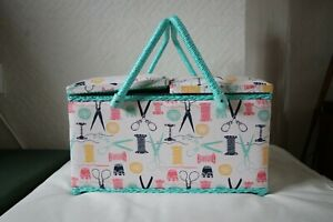 Cotton Reel Scissors Design Fabric Twin Lid Sewing Box by Hobby Gift