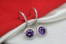 Amethyst Halo Nickel Free Sterling Silver Dangle Leverback Earrings 1.91Ct /Pair
