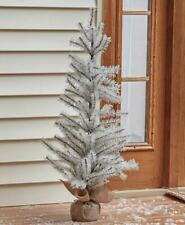 3 Foot Tall White Glitter Tinsel Christmas Tree w/ Burlap Sack Base