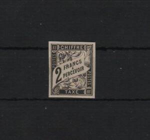 """FRENCH COLONIES YVERT TAXE 13 SCOTT POSTAGE DUE J13a """" 2F BLACK """" MNH VF T663"""