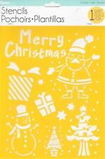 Darice Craft Stencils Merry Christmas Santa Snowman 8.5x11 Reusable Template