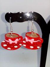 3D tea cup drop earrings food jewellery TEA CUP earrings SURGICAL STEEL red