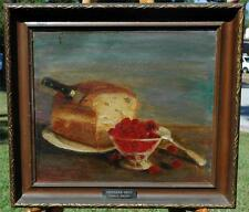 19th Century Oil on Canvas Still Life of Bread & Berries by Frederick Grish