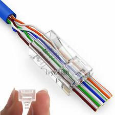 50pcs EZ rj45 connector cat6 cat5e 8P8C rj45 plug utp terminals have hole
